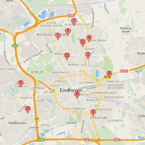 Locaties ETV Olympia Turnvereniging Eindhoven